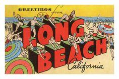 Greetings from Long Beach, California Premium Poster