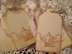 Tea Pot Gift Tags Vintage Distress Style Tie With by ShoppeLaFluer