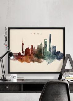 Shanghai poster, Shanghai skyline print, China cityscape, Wall art, Travel, City prints, Office Decor, Gift, Home Decor, iPrintPoster by iPrintPoster on Etsy