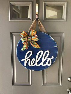 Blue Door Hanger, Hello Door Decor, All Year Wreath, Wood Door Sign, Spring Door Hanger, Summer Door Hanger, Wreaths For Front Door