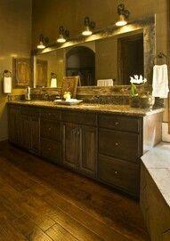 Long barnwood mirror in bathroom...