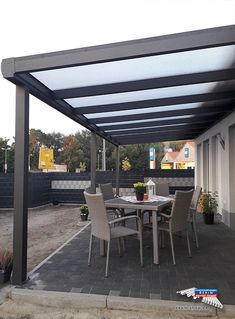 An aluminum patio roof from the REXOpremium brand of 8 mx 3 m in anthracite Pergola With Roof, Patio Roof, Backyard Patio, Wall Sheets, Getaway Cabins, Aluminum Patio, Cozy Place, Pergola Designs, Small Patio