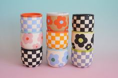 Pottery Designs, Mug Designs, Diy Clay, Clay Crafts, Ceramic Pottery, Pottery Art, Clay Art Projects, Bowls, Painted Pots