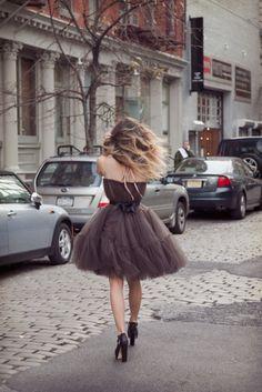 Brown chiffon dress