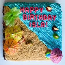 Summer party or luau / beach party bday cake Summer Birthday, Birthday Fun, Birthday Parties, Beach Cake Birthday, Birthday Ideas, 11th Birthday, Hawaiian Party Cake, Hawaiian Cupcakes, Hawaiian Birthday Cakes