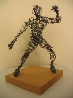 Image detail for -fighter wire sculpture 11 x9 x9 thinker wire sculpture 24
