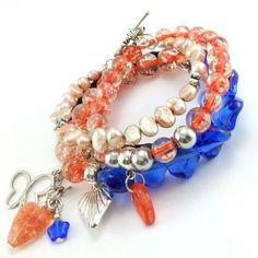 Zestaw bransoletki brzoskwinia i kobalt z perłami naturalnymi Charmed, Bracelets, Jewelry, Fashion, Crystals, Bangle Bracelets, Jewellery Making, Moda, Jewerly