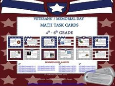 These 20 math task cards are a fun way to practice math skills all the while learning about the brave men & women who serve in the U.S. military! They are perfect especially around Veteran's Day or Memorial Day, but can certainly be used year-round. These task cards work well for the later end of 4th grade(after advanced computational skills have been learned) through 6th grade. Students can work on these task cards at their own pace or in a group.