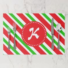 Monogrammed Red and Green Stripes Pattern Placemat - pattern sample design template diy cyo customize