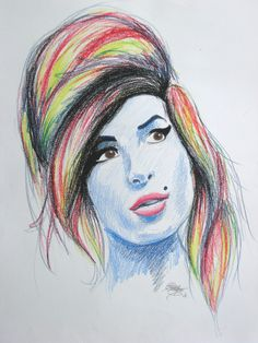 "Photo of drawing - Prismacolor on Strathmore. Another in my ""Women Who Rock"" series. Strange timing that this was the piece nearest completion. R.I.P. Ms. Winehouse. Addendum: Because I seem to get..."