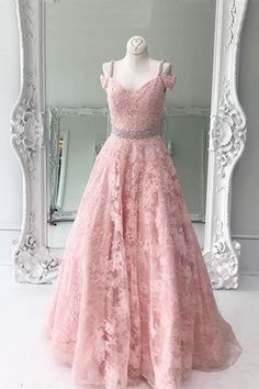 Pink lace prom dress, long prom dress with straps, ball gown 2017