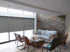 Roller blinds for double height living room Blinds And Curtains Living Room, Bay Window Living Room, Window Treatments Living Room, House Blinds, Modern Blinds, Grey Blinds, Blinds Inspiration, Fresh Living Room, Contemporary Furniture Stores