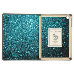SOLD! Beautiful Aqua blue glitter sparkles DODOcase iPad Air Case by #PLdesign #SparklesGift #AquaBlueSparkles #iPad #SparklesiPad #iPadAir #iPadCase