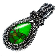 """Green Copper Composite Turquoise 925 Sterling Silver Pendant 2"""" PD553575"""