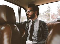 cardigan, tie, beard