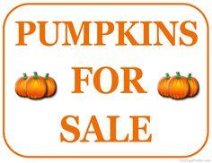 Printable Pumpkins For Sale Sign
