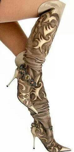 ✿ el dantes ✿ couture tribal overknee stiefel & stiefelkette braun creme 38