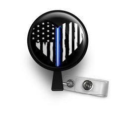 thin white line EMS Emergency Medical Services nurse badge reel
