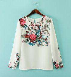 Women plus size white floral chiffon blouses vintage round neck long sleeve shirts Blusas Femininas office casual vintage tops Chiffon Floral, White Chiffon Blouse, Floral Blouse, Silk Chiffon, Zara Fashion, Look Fashion, Retro Fashion, Tops Vintage, Mode Zara