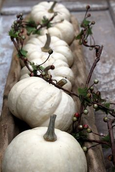 For a new mood use white pumpkins instead of the traditional orange ones.
