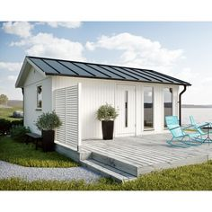 Køb JABO Flex modul Hytte 25 m² Basissæt - se pris her Cottage Porch, Backyard Cottage, Roof Design, House Design, Small Bungalow, Cottages And Bungalows, French Style Homes, Wooden Sheds, Building A House