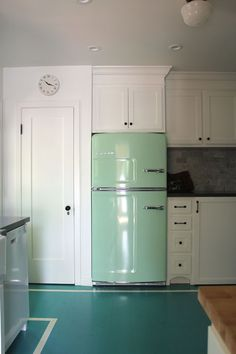 """Design*Sponge Sneak Peek """"I absolutely love my mint green Big Chill fridge. It's a modern fridge made to look old. They make them in several different colors and they are all so much fun."""""""