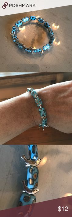 Faux Turquoise Porpoise Stretchy Bracelet Silver Plated Porpoises with Faux turquoise polka dot beads Jewelry Bracelets