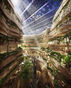 vue plongeante d'immeuble vert dans un biodome