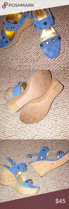 a0bf88c795 Shop Women's Ivanka Trump Blue Gold size 8 Shoes at a discounted price at  Poshmark. Description: Ivanka Trump Wedges cute Blue and Gold.