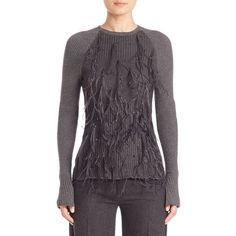 Jason Wu Wool Blend Frilled Pullover (9.850 DKK) ❤ liked on Polyvore featuring tops, sweaters, apparel & accessories, dark flint melange, oversized pullover, crew sweater, crew neck sweaters, oversized sweaters and crewneck sweaters