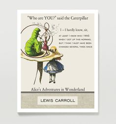 Alice in Wonderland quote  - Vintage Illustration, Steampunk Decor,  Literature Poster, Typographic Print. $18.00