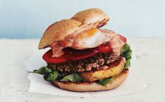 This is what Australians call a Burger With The Lot.   Do You Know About Aussie Burgers Yet?