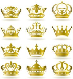 set of gold color crown vector
