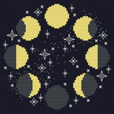 Moon cross stitch pattern Modern cross stitch Moon phases Space cross stitch Celestial hoop art Lunafabric crafts no sew and fabric crafts diy. Cross Stitching, Cross Stitch Embroidery, Embroidery Patterns, Hand Embroidery, Modern Cross Stitch, Cross Stitch Designs, Cross Stitch Patterns, Cross Stitch Moon, Star Stitch