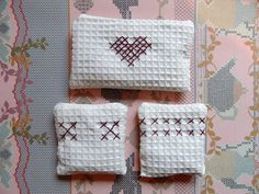lavender filled cross stitched cotton waffle bags by Craft with Ruth Cartwright