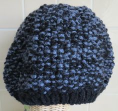 Hand Knitted Beanie - Black and Grey