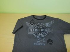 Hard Rock CAFE Military Style Ringer   T Shirt Sz L Large - Gray - PHOENIX AZ #HardRockCaf #GraphicTee