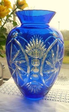 Bohemian crystal 10 large blue pinwheel flash glass vase.