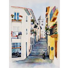 SOLD--While exploring Majorca, Spain with Google Maps during the Virtual Paintout, I discovered this picturesque, narrow street in the costal village of Palma. Watercolor ORIGINAL  Street in Palma by WatercolorsbyLeenie