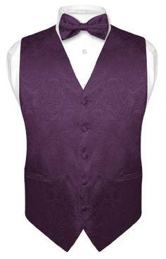 Men's dark purple, plum paisley design vest and tie
