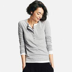 a6b145e4 Women's Supima® Cotton Long Sleeve Henley Neck T-Shirt | T-shirt gem | Long  sleeve henley, Shirts, Women's henley