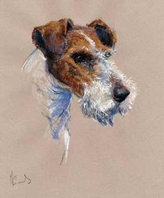 "Artist: Malcolm Coward (UK) Title: ""Fox Terrier"" (Wire Fox Terrier Head Study) Size: 13½"" x 12"" (34cm x 29.5cm) paper size (+/-) Status: Limited Edition of 395 - Artist Signed & Numbered"