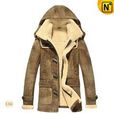 Vintage Hooded Sheepskin Shearling Jacket for Men CW877093 $1615.89 - www.cwmalls.com