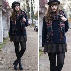 Front Row Shop Tartan Scarf, Front Row Shop Relaxed Jumper