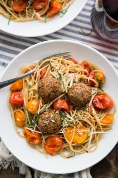 A hearty vegetarian main that highlight simple lentil meatballs with fresh tomatoes and an easy to assemble pasta.