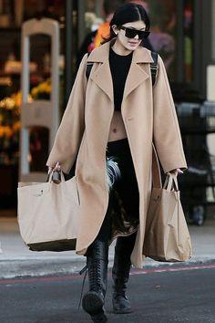Kylie Jenner wearing Celine Original 1732 Sunglasses, Fendi Fur Bag Bug, Ann Demeulemeester Knee High Military Boots, Max Mara Manuela Coat and Elisabeth Weinstock Mini Andes Backpack in Exotic Snakeskin