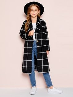 To find out about the Girls Single Button Grid Print Longline Coat at SHEIN, part of our latest Girls Jackets & Coats ready to shop online today! Girls Fashion Clothes, Kids Outfits Girls, Cute Girl Outfits, Tween Fashion, Cute Outfits For Kids, Teen Fashion Outfits, Cute Casual Outfits, Stylish Outfits, Cute Summer Outfits