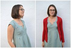 Washi dress gorgeous in check fabric and red cardi is perfect