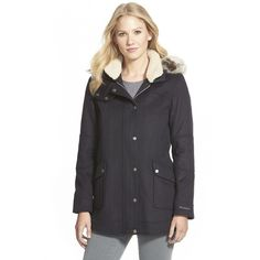 Barbour 'Carston' Faux Fur Trim Hooded Wool Blend Jacket ($599) ❤ liked on Polyvore featuring outerwear, jackets, navy, zip front jacket, barbour jacket, wool blend jacket, fleece lined hooded jacket und navy blue jacket