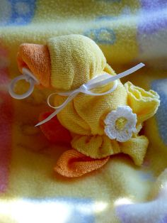 Baby Quackers in Yellow Washcloth Ducks...Too Cute...Baby Shower...Duck Themed Baby Shower..Baby Washcloths. $6.95, via Etsy.